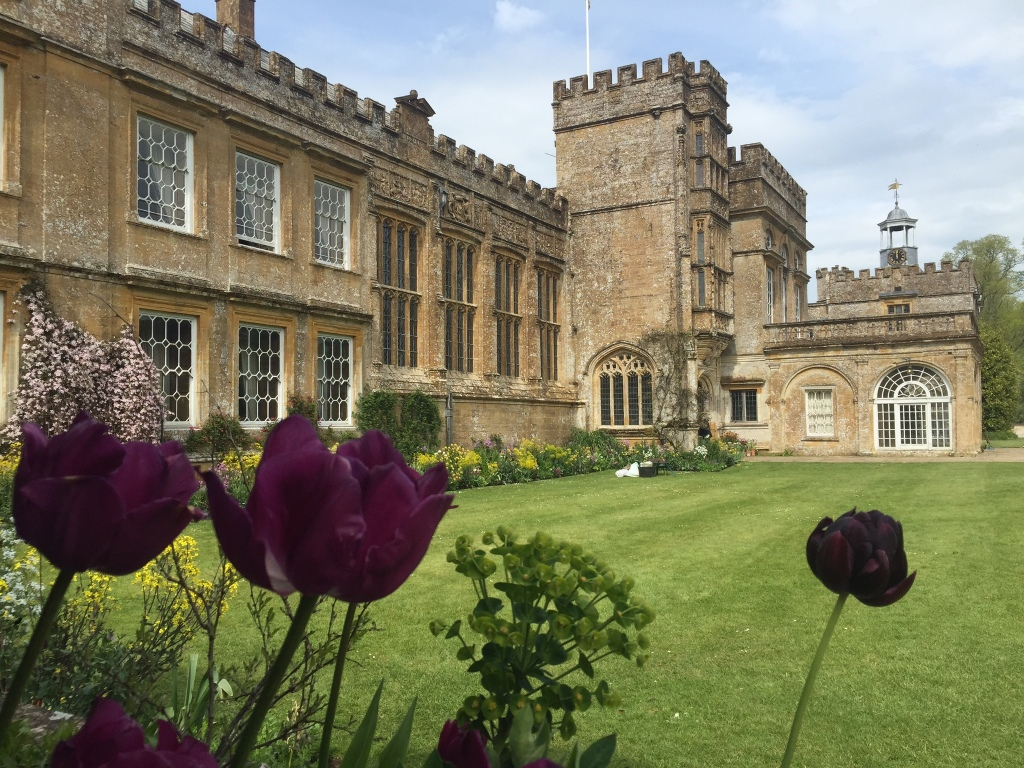 Tulips frame the house at Forde Abbey