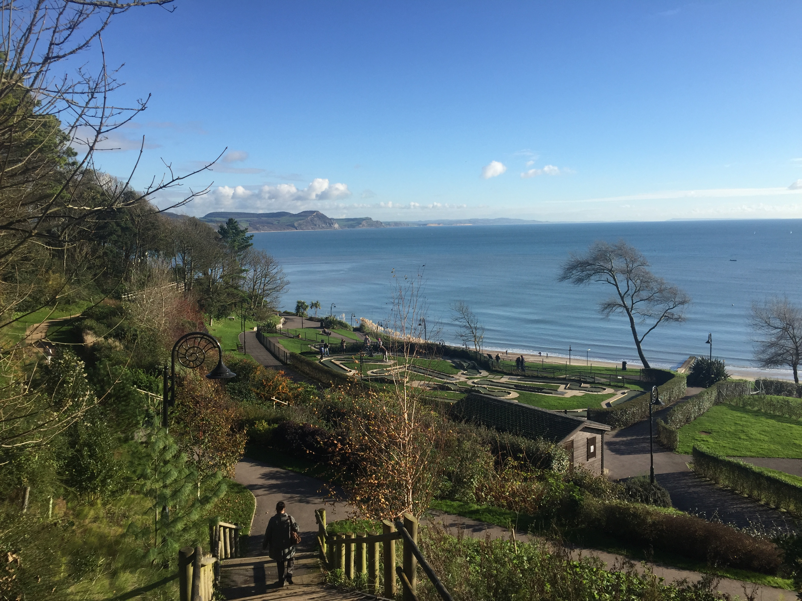 A picture from Lyme Regis - view from the top of the gardens looking towards the sea on a clear and sunny day